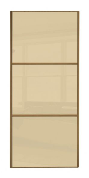 Wideline sliding wardrobe door, Oak frame/ Cream glass